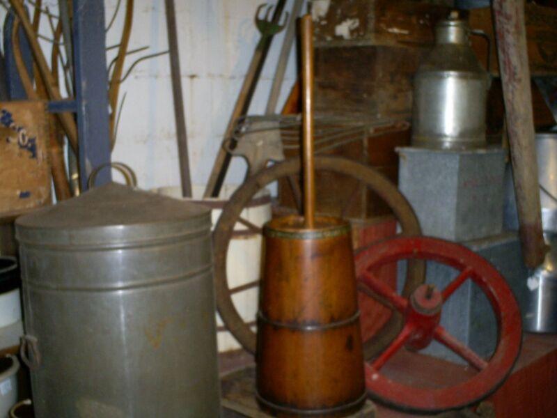 Primitive Antique Pennsylvania Wood Staves Butter Churn Lid & Dasher Original