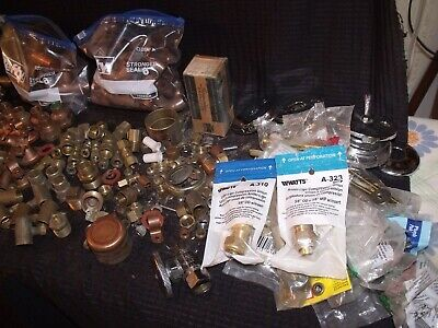 Large Lot Of Residential Copper Brass Steel Plumbing Fittings