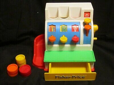 Vintage 1990 Fisher Price Cash Register # 2044 with All 6 Coins!  WORKS!