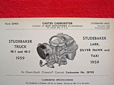 1959 STUDEBAKER TRUCK, LARK, SILVER HAWK CARTER AS CARBURETOR SPEC INFO SHEET