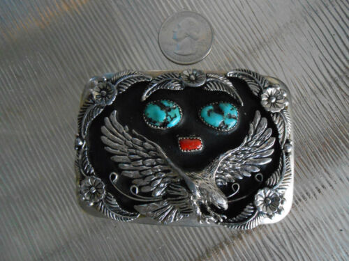 Detailed Vintage Eagle Coral & Turquoise Belt Buckle Silverplate Silver Tone