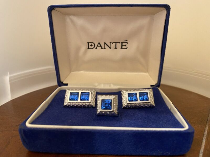Vintage Dante Blue Gem Silver Tone Mesh Cuff Links Tie Tack Set New In Box