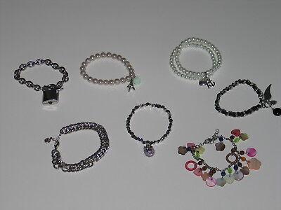 7x Armbänder Modeschmuck Perlen Eule Schloß ♥ Leder Paris Bettelarmband H&M gebraucht kaufen  Lörrach