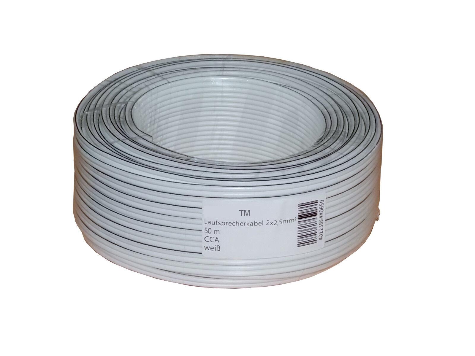 Lautsprecherkabel 50m  2x 2,5 mm² Audiokabel Boxenkabel CCA Kabel cable weiß