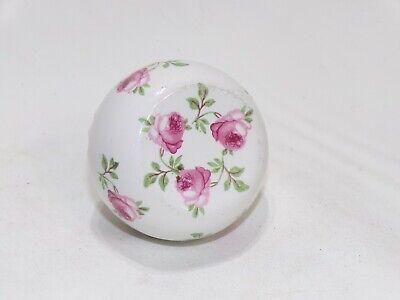 "Vintage White Porcelain Ceramic Door Knob Rose Flower Design 2.15"" diameter"