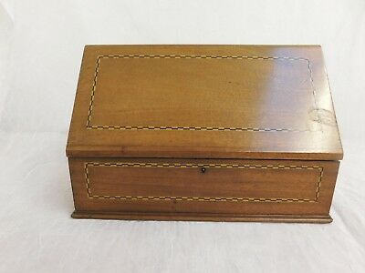Desk Top Organizer Inlaid Wood Hand Crafted Vintage