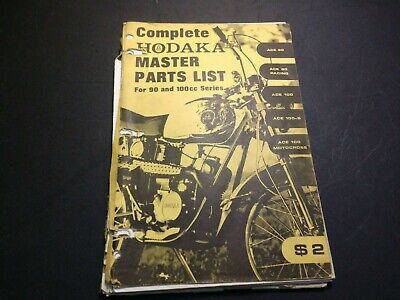 Vintage Hodaka Motorcycle Master Parts List for 90 and 100cc Series