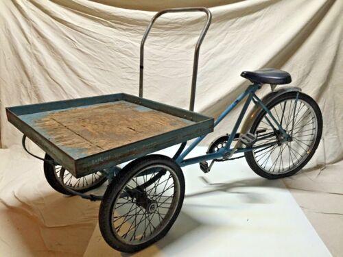 Vintage Workman Tricycle Bicycle Industrial Cart