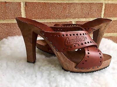 Vintage 1980's Candies Original Sandals High Heels Slides Brown Women  Sz 5 - Vintage 1980's Candies Original Sandals High Heels Slides Brown