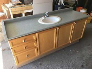 Large Birch bathroom vanity with sink and faucet
