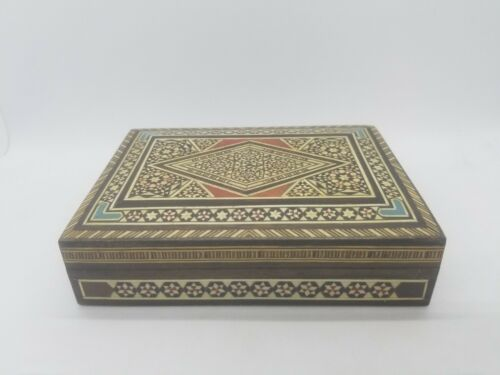 Middle Eastern Marquetry Wood Inlay Cigarette Stash Trinket Jewelry Box