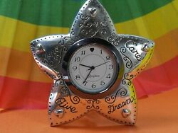 BRIGHTON WISHING STAR LOVE HONOR desk top watch SILVER TONE ESTATE FRESH BATTERY