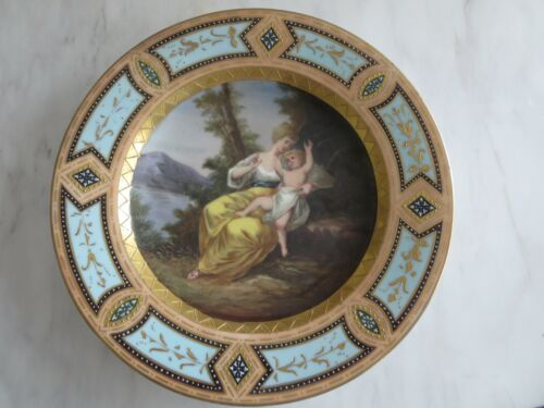 Antique Royal Vienna Beehive Porcelain Hand Painted Mother and Child Plate