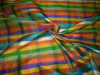 BTY 100% SILK FABRICUT PLAID CHECKS AWESOME DRAPERY UPHOLSTERY FABRIC FOR -