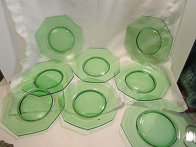 8 Apple Green Octagon Plates Elegant Depression Glass