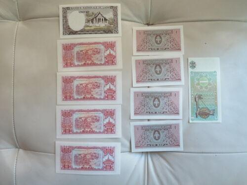 Lot of 10 LAOS 1 20  Kip  UNC 10 Pcs Lao Note + Burma Sequential (47)