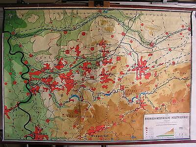 Schulwandkarte Wandkarte map Karte 168x116cm Rhein Rhur West Ruhrgebiet alte