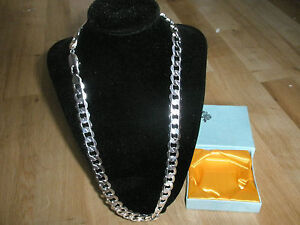 925 Solid Silver Plated Curb Chain Necklace & Box, Men's Birthday Valentine Gift