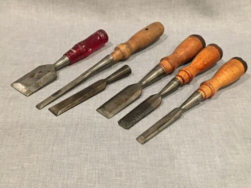 6 Vintage Wood Chisels - Wards Masterquality, Stanley, Fuller