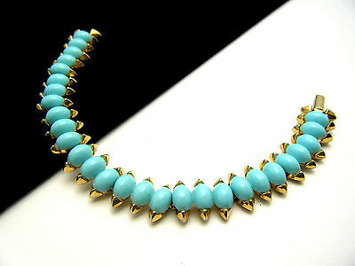 Crown Trifari Bracelet Faux Turquoise Lucite Cabochons  on Lookza