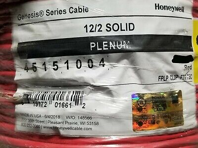 Honeywell Genesis Cable 4515 122c Solid Plenum Fire Alarm Wire Fplp Red 100ft