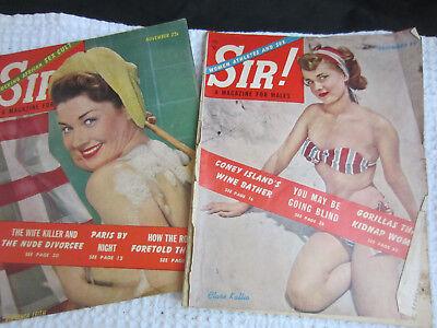2 vtg SIR stag men's magazine Nov Dec 1950 Virginia Leith Clare Kallio pin up