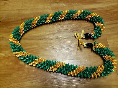 Graduation Wedding Hawaiian Green and Light Gold Swirl Rosebud Ribbon Lei](Green And Gold Wedding)