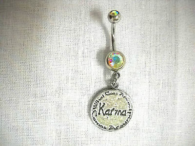 NEW TEXT ROUND DISC KARMA CHARM ON AURORA BOREALIS CZ BELLY RING NAVEL BARBELL Circular Barbell Belly Ring