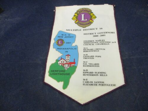 Vintage Lions Club Banner 2001 Flag New Jersey Herford Lighthouse District 16
