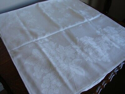 2 Vintage white linen cotton beautiful damask tablecloths each 50
