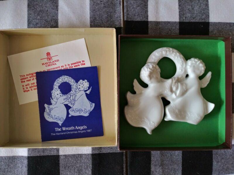 Used ~SIGNED~Haviland Limoges 1987 Ornament - The Wreath Angels - Porcelain
