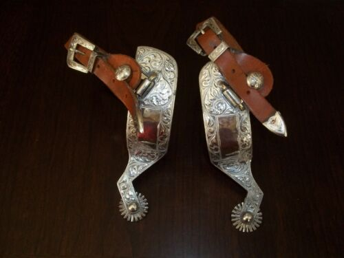 Pair of Fleming Ornate Silver Spurs 1021-714 with Rowels & Straps