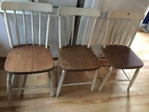 3 antique wood chairs - available