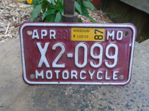 Missouri 1987 Motorcycle License Plate # X2-099, MO