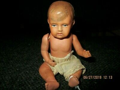 "Antique Dollhouse 5.5"" Celluloid Doll Made in USA Realistic Face Must see, used for sale  Hewitt"