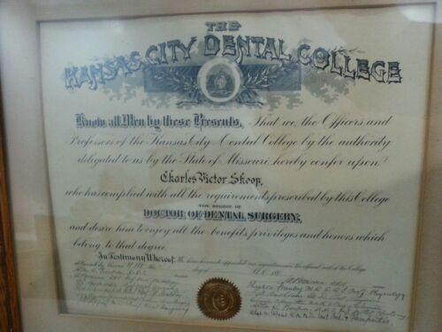 ANTIQUE 1896 DOCTOR OF DENTAL SURGERY DIPLOMA, THE KANSAS CITY DENTAL COLLEGE