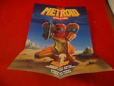 Metroid II Return of Samus Nintendo Game Boy Foldable Promo Poster Insert ONLY