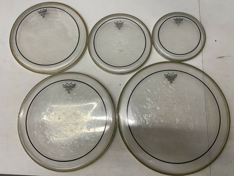 used Set Of Pinstripe Drum Heads 8,10,12,14,16 Lot E