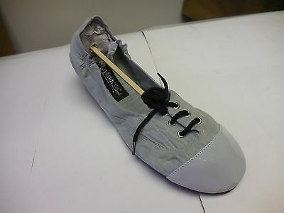 FootzyFolds Luxe By Footzyrolls Ladies Lace Up Ballet Slippers in Grey  -