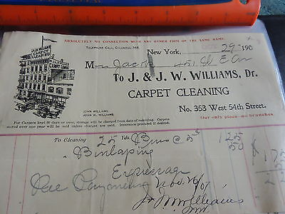 1900 J&J W. Williams Dr Carpet Cleaners New York Municipality NYC billhead