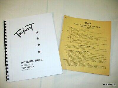 Triplett 2413 Tube Tester Manual W Tube Chart Supplement 1947 News Article.