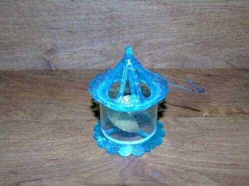 Vintage 1950s Christmas Tree Twinkler Bird Cage Spinner Ornament teal