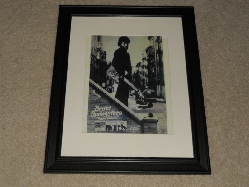 """Framed Bruce Springsteen Born to Run 1975 Columbia Mini-Poster, 14"""" by 17"""""""