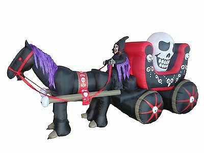 USED Halloween Inflatable Skeleton Ghost Carriage with Mustang Garden Decoration