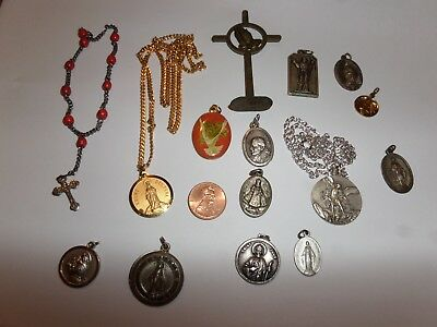 VINTAGE RELIGIOUS 15 LOT MIXED MEDALS CHARMS HAYWARD STERLING & MORE