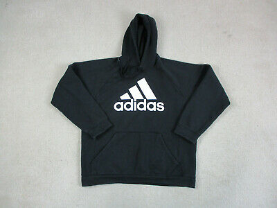 Adidas Sweater Adult Large Black White Trefoil Spell Out Hoodie Hooded Mens