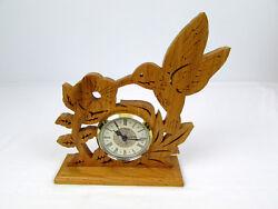 Handmade Wood Cutout Hummingbird & Morning Glory Mantle Tabletop Shelf Clock