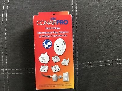 DUAL VOLTAGE INTERNATIONAL TRAVEL CONVERTER & PLUG KIT CONAIR PRO Retail $33 NIB Internal Retail Kit