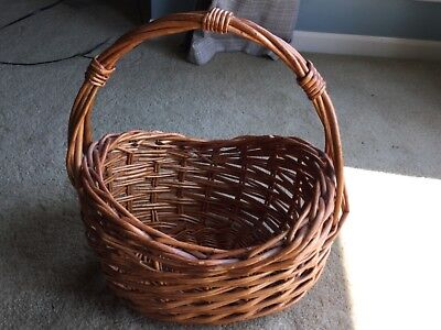 Brown Oval Basket - LARGE PIER 1 ONE BROWN OVAL BASKET THICK WEAVE WITH HANDLE HOME DECOR DECORATIVE