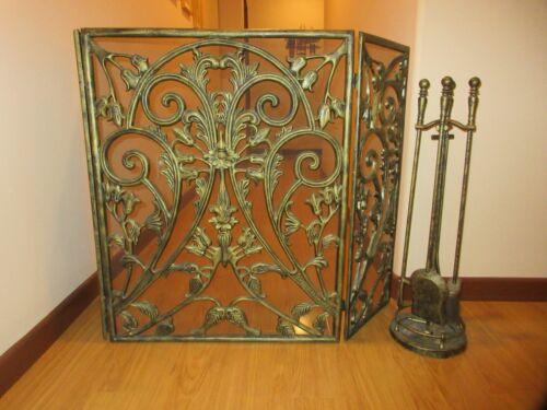 Vintage Bronze 3 Panel Fireplace Screen